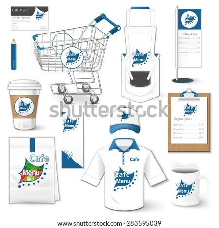 Set of restaurant corporate identity, burgers, uniform, flyer, shirt, cup, cart, menu, package, apron,  coffee cup vector illustration - stock vector