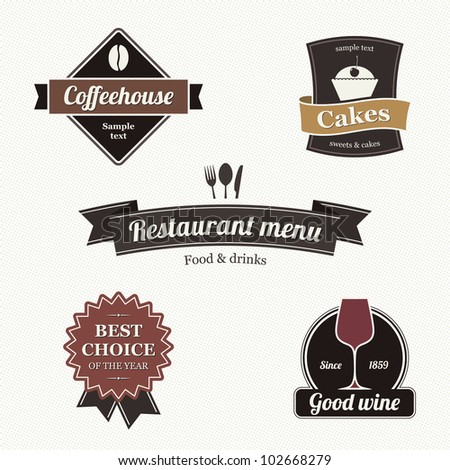 Set of restaurant labels - stock vector