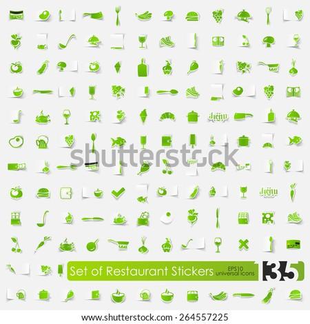 Set of restaurant stickers - stock vector