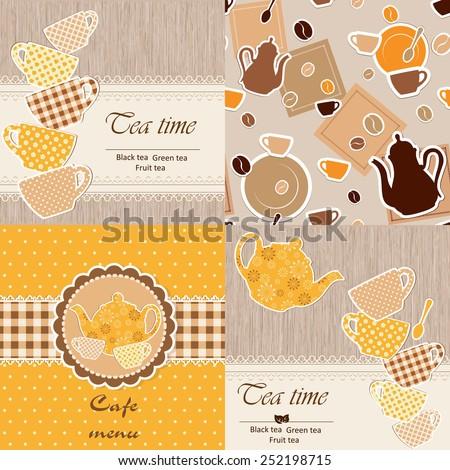 Set of restaurant template menu - stock vector