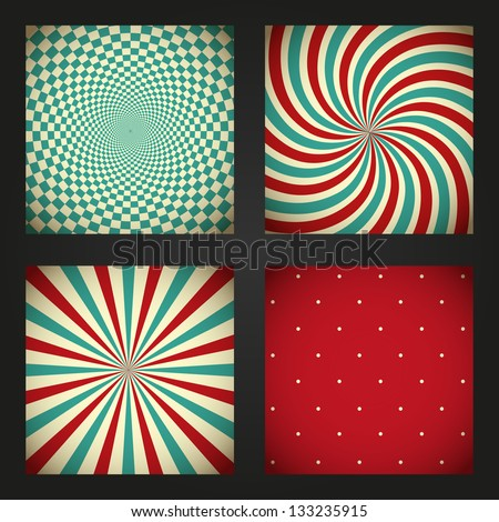 Set of retro abstract backgrounds - stock vector