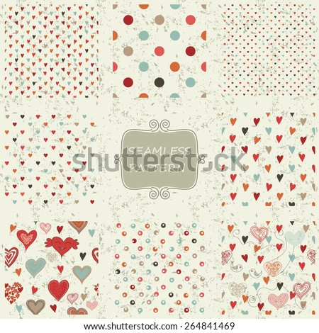set of 8 retro abstract seamless patterns with colorful hearts on shabby background - stock vector