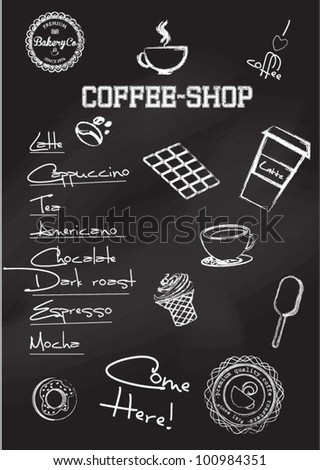 Set of retro and drawn coffee badges and elements on the chalkboard - stock vector
