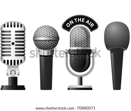 Set of retro and modern microphones in different styles - stock vector