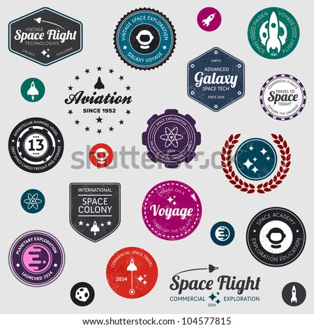 Set of retro and modern space travel badges and labels - stock vector