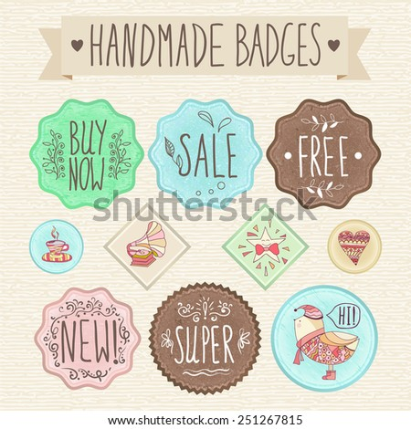 Set of retro badges. Hand-drawn lettering. Handmade creative colored labels with inscriptions in vintage style. All the letters and patterns drawn by hand. - stock vector