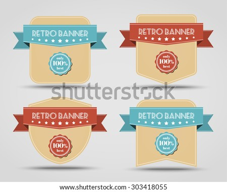 Set of retro banners (label) with a ribbon of different shapes. - stock vector