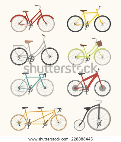 Set of retro bicycle  , eps10 vector format - stock vector