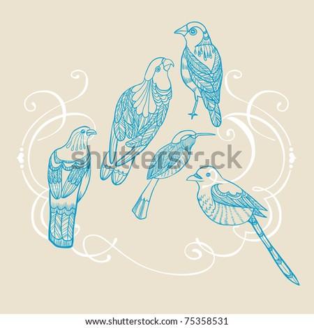 set of retro bird - stock vector