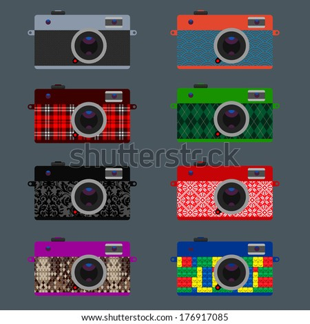 Set of Retro Cameras, hipster style, vector illustration.  - stock vector