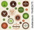 Set of retro camping and outdoor adventure logo badges and labels - stock photo