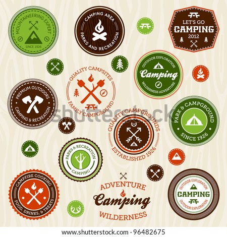 Set of retro camping and outdoor adventure logo badges and labels - stock vector