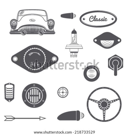 Set of Retro car design vintage element. Vector illustration - stock vector