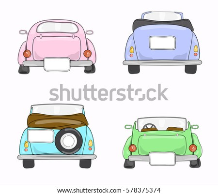 Set Retro Cars Back View Stock Vector 578375374 - Shutterstock