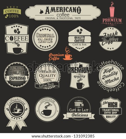 Set of retro coffee labels