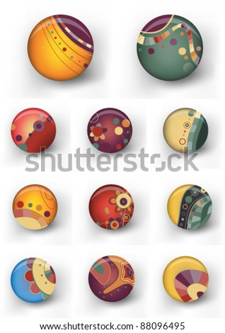 Set of retro colorful badges. eps10 vector file