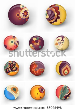 Set of retro colorful badges. eps10 vector file - stock vector