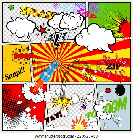 Set of Retro Comic Book Vector Design elements, Speech and Thought Bubbles - stock vector