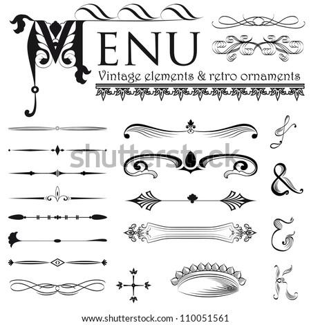 Set of retro design elements for page decoration, cute vignette, old ornate card, menu frame, black sign, symbol, gold art menu, ribbon, royal row, king image, grunge backdrop, type label vector eps 8 - stock vector