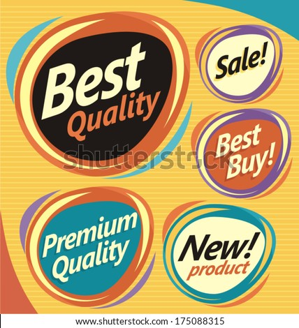 Set of retro design elements. Vector badges, labels, emblems, signs and promotional stickers collection. - stock vector