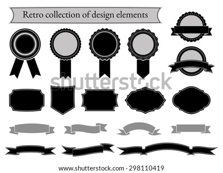 Set of retro elements for design. Collection of labels, ribbons, banners and frames in vintage style. Vector illustration. - stock vector
