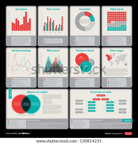 Set of retro elements for infographic design. - stock vector