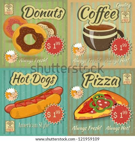set of Retro Fast Food Menu Cards. Vector Illustration. - stock vector