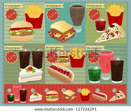 Set of Retro fast food menu, Vector retro style template Design - stock vector