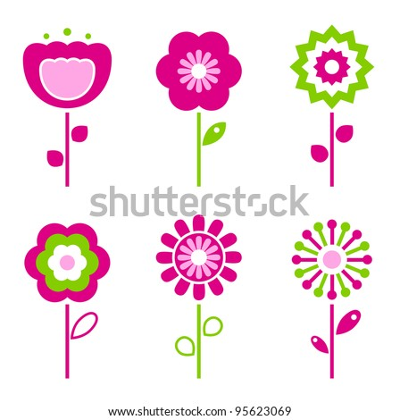 Set of retro flower elements for easter / spring - stock vector