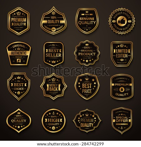 Set of Retro Gold and Black Premium Quality Badges and Labels. Vector Illustration. Quality Guarantee. Best Choice, Best Price, Original Product, Money Back Guarantee. Authentic Product. - stock vector