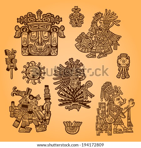 Set of retro graphic image of the Maya. Maya design element. Vintage engraving object. - stock vector