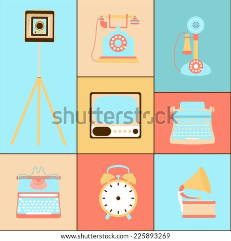 Set of retro icons - stock vector