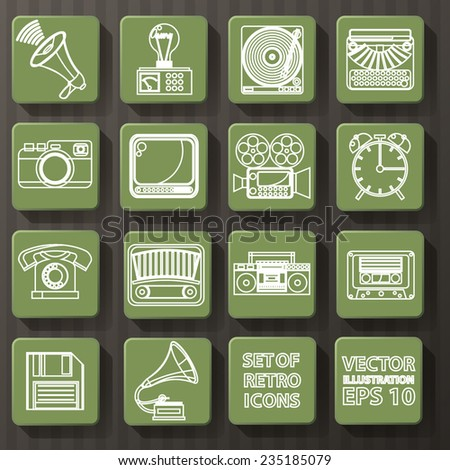 set of retro icons. vector illustration - stock vector