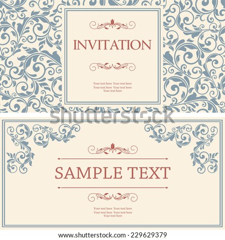 set of retro Invitations or wedding cards with damask background and elegant floral elements  - stock vector