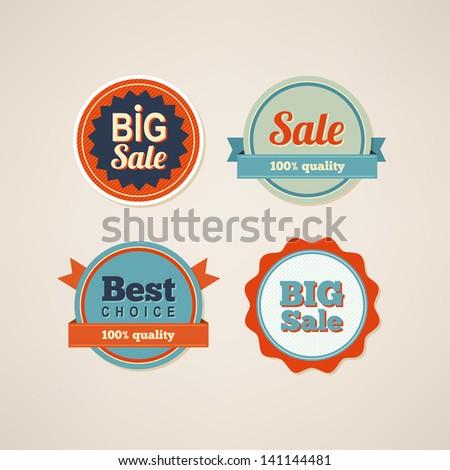 Set of retro labels - stock vector