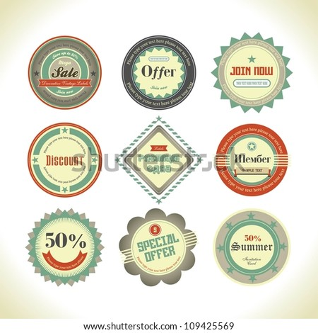 Set of retro labels, buttons and icons. - stock vector