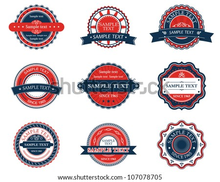 Set of retro labels for sticker, badge or emblem design. Jpeg version also available in gallery - stock vector