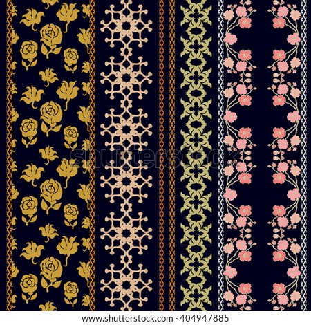 Set of retro lace borders with bohemian motifs. Hand drawn seamless roses and blooming cherry, geometric ornaments. Vintage textile collection. Golden, silver shadows on black.   - stock vector