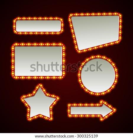 Set of retro light frames. Vector illustration EPS 10 - stock vector