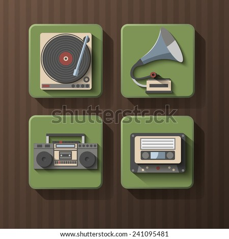 set of retro music icons - stock vector