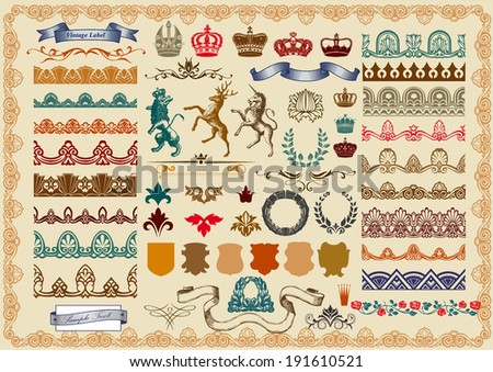 Set of retro ornaments: page decoration, antique and baroque frames. - stock vector