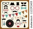 Set of retro party elements. Mustaches, hats and sunglasses. - stock vector