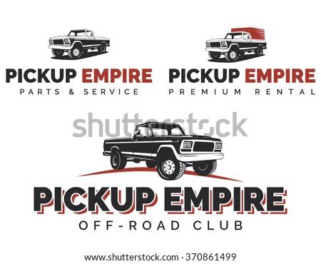 Set of retro pickup trucks logos, emblems and icons. Off-road SUV pickup logotype design. - stock vector