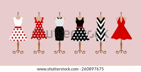 Set of 6 retro pinup cute woman dresses on a mannequin. Short and long elegant black, red and white color polka dot design lady dress collection. Vector art image illustration, isolated on background - stock vector