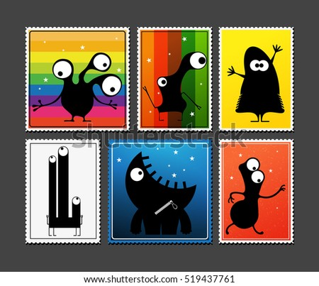 Set of retro postage`s stamp with funny monsters on different color background, . Cartoon illustration.