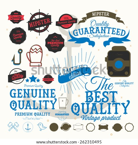 Set Of  Retro Premium Quality Calligraphic Labels and Badges - stock vector