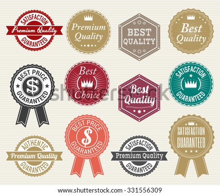 Set of retro quality and price guarantee  tag banner label badge sticker ribbon - stock vector