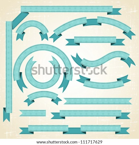 Set of retro ribbons and labels. Christmas  pattern. - stock vector