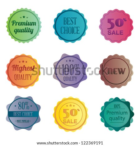 Set of retro ribbons and labels. Vector illustration. Collection of Premium Quality and Guarantee Labels - stock vector