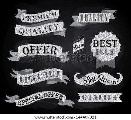 Set of retro ribbons and labels with text quality and best offer, premium, stylized drawing with chalk on the blackboard - stock vector
